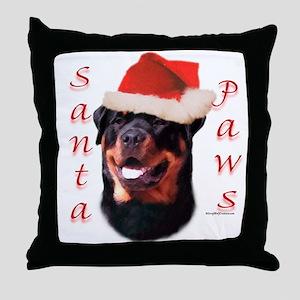 Santa Paws Rottweiler Throw Pillow