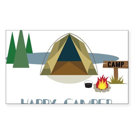 Happy Camper Sticker (Rectangle)