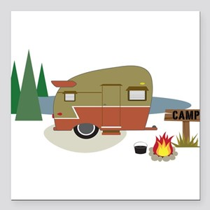 "Camping Trailer Square Car Magnet 3"" x 3"""