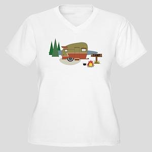 Camping Trailer Women's Plus Size V-Neck T-Shirt