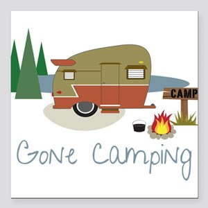 """Gone Camping Square Car Magnet 3"""" x 3"""""""