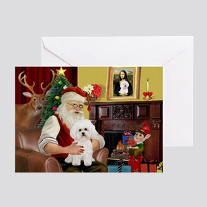 Santa's Bichon Frise Greeting Cards (Pk of 10)