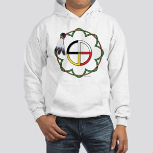 Four Directions Symbol Hooded Sweatshirt -wht