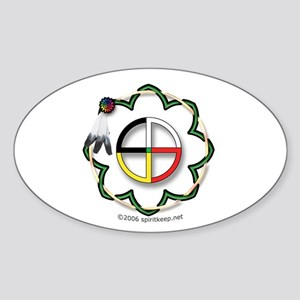 Four Directions Symbol Oval Sticker