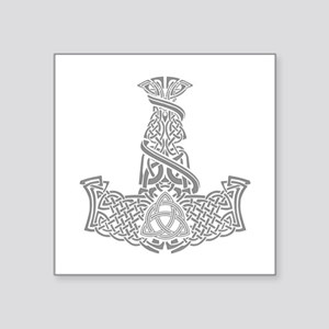"Mjolnir Silver Square Sticker 3"" x 3"""