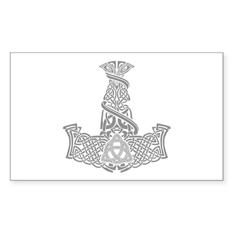 Mjolnir Silver Sticker (Rectangle)