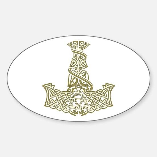 Mjolnir Gold Sticker (Oval)
