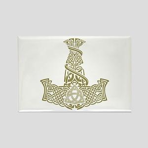 Mjolnir Gold Rectangle Magnet