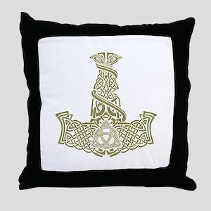 Mjolnir Gold Throw Pillow