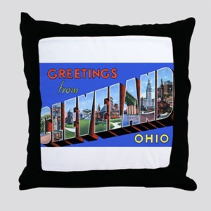 Cleveland Ohio Greetings Throw Pillow