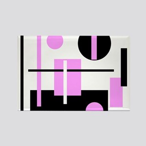 Fashionable pink black and white abstract square R