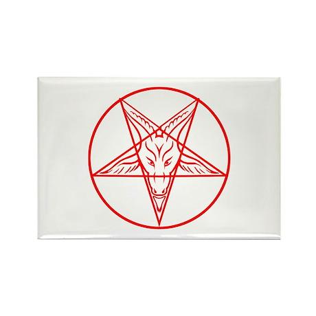 Baphomet Pentagram Lines Rectangle Magnet (100 pac