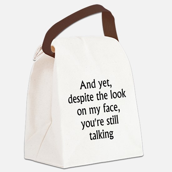 still talking 2.png Canvas Lunch Bag