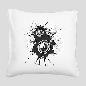 Speaker Splatter DJ Square Canvas Pillow