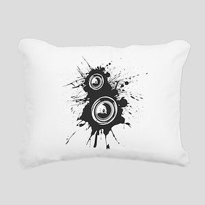 Speaker Splatter DJ Rectangular Canvas Pillow