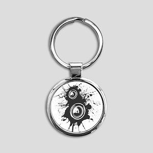 Speaker Splatter DJ Round Keychain