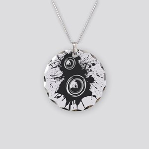 Speaker Splatter DJ Necklace Circle Charm