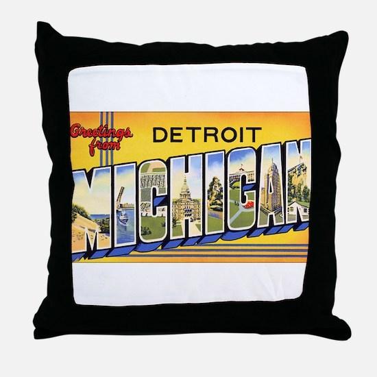 Detroit Michigan Throw Pillow