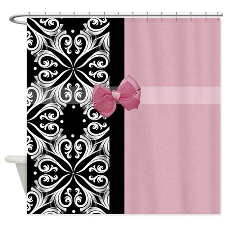 Parisian Damask Pink Ribbon Shower Curtain By OhSoGirlyTKDesigns