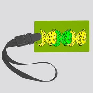 Yellow and Green Fishes Large Luggage Tag