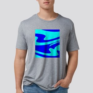 Turquoise Wild Wave 4Randy Mens Tri-blend T-Shirt
