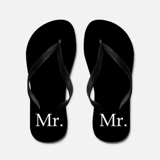 Black mr and mrs flip flops - for him