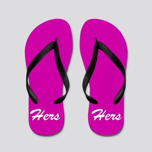 bd07086ee Hot pink His and hers flip flops - for her
