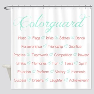 Colorguard Mint and Coral Shower Curtain