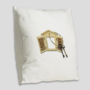 Shuttered Window Keys Burlap Throw Pillow