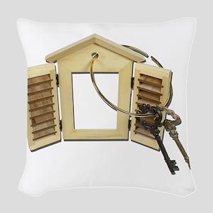 Shuttered Window Keys Woven Throw Pillow