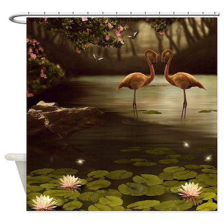 Magic Flamingos Shower Curtain