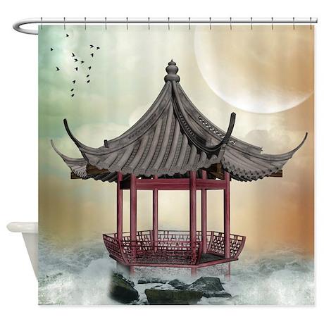 Oriental gazebo shower curtain by showercurtainshop - Asian themed bathroom accessories ...