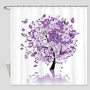 Purple Floral Tree Shower Curtain