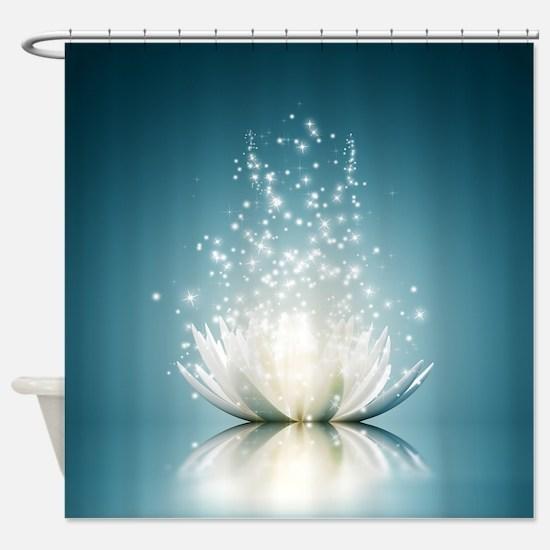 White Lotus Magic Shower Curtain