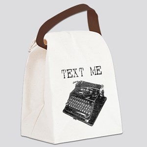 Text Me vintage typewriter Canvas Lunch Bag