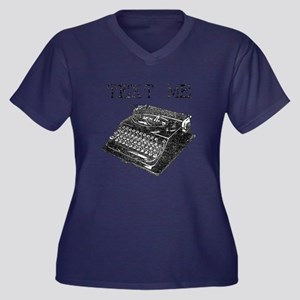 Text Me vintage typewriter Women's Plus Size V-Nec
