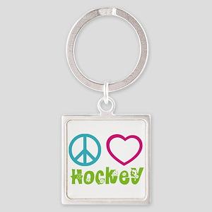 Peace Love Hockey Square Keychain