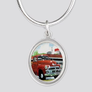 1954 Chevrolet Truck Silver Oval Necklace