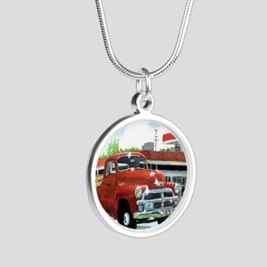 1954 Chevrolet Truck Silver Round Necklace