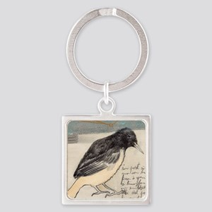 Black Bird Singing - Square Keychain
