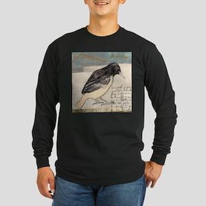 Black Bird Singing - Long Sleeve Dark T-Shirt