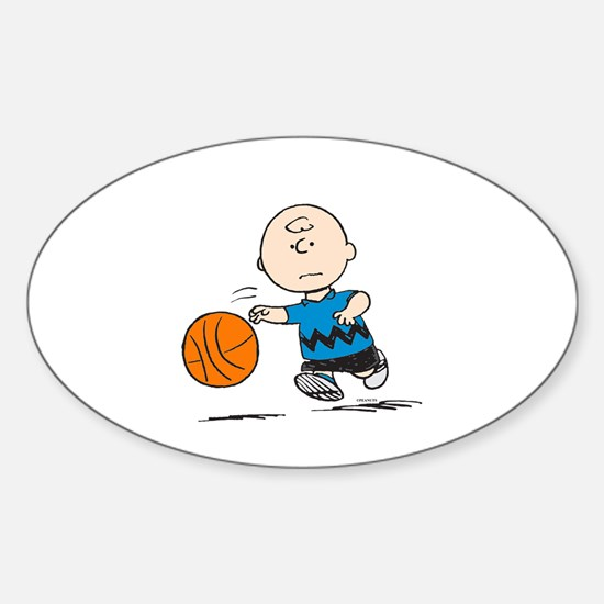 Basketballer Brown Sticker (Oval)