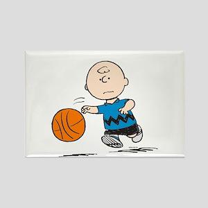Basketballer Brown Rectangle Magnet