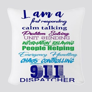 911 DISPATCHER Woven Throw Pillow