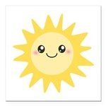 Cute happy sun Square Car Magnet 3