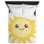 Cute happy sun Queen Duvet