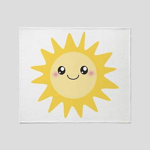Cute happy sun Throw Blanket