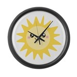 Cute happy sun Large Wall Clock