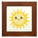Cute happy sun Framed Tile