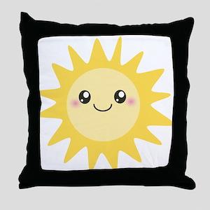 Cute happy sun Throw Pillow